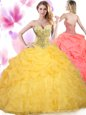 Multi-color Ball Gowns Tulle Sweetheart Sleeveless Beading and Ruffles Floor Length Lace Up Sweet 16 Dresses