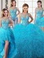 Fitting Four Piece Baby Blue Lace Up Scoop Beading and Ruffles Sweet 16 Dresses Tulle Sleeveless