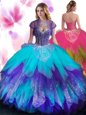 Sleeveless Floor Length Beading and Ruffled Layers Lace Up Quinceanera Gown with Multi-color