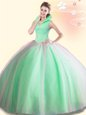 Lovely Four Piece Halter Top Sleeveless Floor Length Embroidery and Pick Ups Lace Up Ball Gown Prom Dress with Turquoise