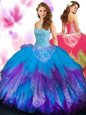 Elegant Rose Pink Tulle Lace Up Sweetheart Sleeveless Floor Length Quinceanera Gowns Beading and Ruffles