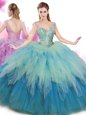 Three Piece Tulle Halter Top Sleeveless Lace Up Embroidery and Pick Ups Quinceanera Dresses in Turquoise