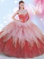 New Arrival High-neck Sleeveless Tulle Quinceanera Dresses Beading and Ruffles Zipper