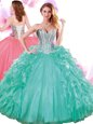 Turquoise Quinceanera Gowns Military Ball and Sweet 16 and Quinceanera and For with Beading and Ruffles Sweetheart Sleeveless Lace Up