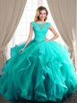 Inexpensive Turquoise Lace Up Scoop Beading and Appliques and Ruffles Sweet 16 Dresses Tulle Cap Sleeves Brush Train