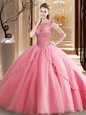 Luxury Scoop Sleeveless Tulle Brush Train Lace Up Sweet 16 Dresses in Watermelon Red for with Beading