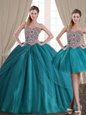 Custom Design Three Piece With Train Ball Gowns Sleeveless Teal Sweet 16 Quinceanera Dress Brush Train Lace Up