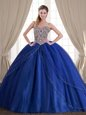 Best Selling Sleeveless With Train Beading Lace Up Sweet 16 Quinceanera Dress with Royal Blue Brush Train