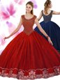 Scoop Wine Red Ball Gowns Beading and Appliques 15 Quinceanera Dress Zipper Tulle Sleeveless Floor Length