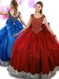 Wine Red Scoop Neckline Beading and Appliques and Bowknot Quinceanera Gowns Sleeveless Zipper