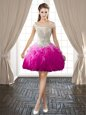 Off the Shoulder Fuchsia Sleeveless Organza Backless Celeb Inspired Gowns for Prom and Party
