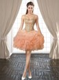 Backless Mini Length Peach Prom Evening Gown Organza Sleeveless Beading and Ruffles and Pick Ups