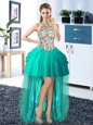 Beautiful Tulle Halter Top Sleeveless Lace Up Embroidery and Pick Ups Homecoming Dress in Turquoise