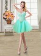 Apple Green Lace Up Sweetheart Beading and Ruffles Evening Dress Organza Sleeveless