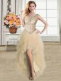 Champagne Ball Gowns Scoop Sleeveless Tulle High Low Lace Up Ruffles Prom Party Dress