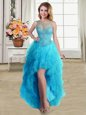 Sophisticated Scoop Sleeveless Lace Up Formal Dresses Baby Blue Tulle