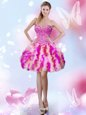 Tulle Sweetheart Sleeveless Lace Up Beading and Ruffles Prom Party Dress in Multi-color
