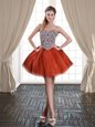 Hot Selling Rust Red Lace Up Sweetheart Beading Homecoming Dress Tulle Sleeveless