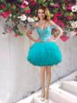 Off the Shoulder Teal Sleeveless Beading and Ruffles Mini Length Prom Party Dress