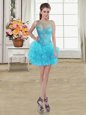 Ball Gowns Evening Dress Baby Blue Scoop Tulle Sleeveless Mini Length Lace Up