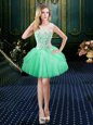 Graceful Scoop Apple Green Sleeveless Lace Floor Length Prom Dresses
