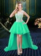 Scoop Organza and Lace Sleeveless High Low Homecoming Dress and Lace