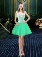 Scoop Turquoise Sleeveless Lace Mini Length Prom Dresses