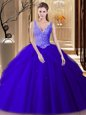 Wonderful Royal Blue Backless V-neck Lace and Appliques and Pick Ups Quinceanera Gown Tulle Sleeveless