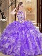 Scoop Sleeveless Organza Ball Gown Prom Dress Embroidery and Ruffles Backless