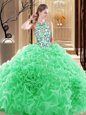 Backless 15 Quinceanera Dress Organza Brush Train Sleeveless Embroidery and Ruffles