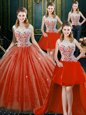 Dazzling Four Piece Orange Red High-neck Neckline Beading and Lace Quince Ball Gowns Sleeveless Zipper