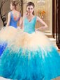 Eye-catching V-neck Sleeveless Zipper 15 Quinceanera Dress Multi-color Tulle