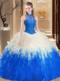 Comfortable Blue And White Quince Ball Gowns Military Ball and Sweet 16 and Quinceanera and For with Lace and Appliques and Ruffles High-neck Sleeveless Backless