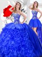 Three Piece Floor Length Blue 15th Birthday Dress Sweetheart Sleeveless Lace Up