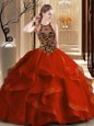Admirable Scoop Backless Rust Red Quinceanera Gown Tulle Brush Train Sleeveless Embroidery and Ruffles
