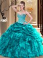 Top Selling Sweetheart Sleeveless Lace Up Sweet 16 Dresses Multi-color Organza and Taffeta