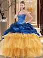 Sweetheart Sleeveless Organza and Taffeta 15th Birthday Dress Beading and Ruffles Lace Up
