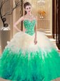 Fantastic Sweetheart Sleeveless Lace Up Vestidos de Quinceanera Multi-color Tulle