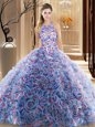Clearance Sleeveless Zipper Floor Length Lace Sweet 16 Quinceanera Dress