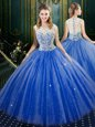 Royal Blue Zipper High-neck Lace Ball Gown Prom Dress Tulle Sleeveless