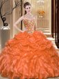 Ball Gowns 15th Birthday Dress Orange Sweetheart Organza Sleeveless Floor Length Lace Up