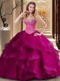 Floor Length Fuchsia Quinceanera Dresses Tulle Sleeveless Beading and Ruffles