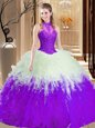 Ideal High-neck Sleeveless Lace Up Sweet 16 Dresses Burgundy Tulle