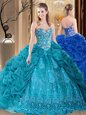 Customized Floor Length Lace Up Sweet 16 Dress Teal and In for Prom and Military Ball and Sweet 16 and Quinceanera with Embroidery and Pick Ups