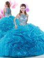 Traditional High-neck Sleeveless Quince Ball Gowns Court Train Ruffles Baby Blue Organza