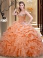 Multi-color Lace Up Sweetheart Embroidery and Ruffles Quinceanera Gown Fabric With Rolling Flowers Sleeveless Brush Train