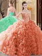 Orange Fabric With Rolling Flowers Lace Up Quince Ball Gowns Sleeveless Floor Length Embroidery and Ruffles