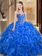 Cute Royal Blue Sleeveless Embroidery and Ruffles Floor Length Sweet 16 Quinceanera Dress