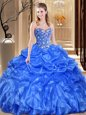 Ball Gowns Sweet 16 Dress Royal Blue Sweetheart Organza Sleeveless Floor Length Lace Up