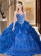 Classical Sweetheart Sleeveless Organza Quinceanera Dress Embroidery and Pick Ups Court Train Lace Up